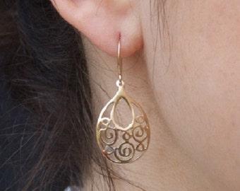 Gold Spiral Earrings, Gold Dangle Earrings, Gold Drop Earrings, Gold Earrings, Ethnic Earrings, Vintage Style Earrings