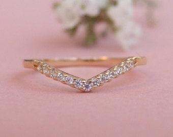 CZ Gold Chevron Ring, Gold Ring, Bridesmaid Ring, CZ Ring