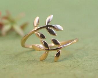 Gold Ring, Gold Leaf Ring, Gold Wrap Ring, Gold Adjustable Ring, Gold Floral Ring, Gold Leaves Ring