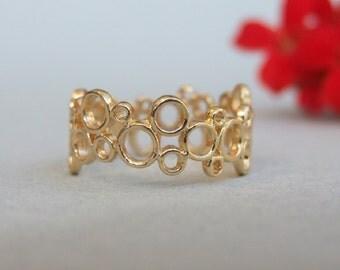 Linked Circles Ring, 14K Gold Plated Ring