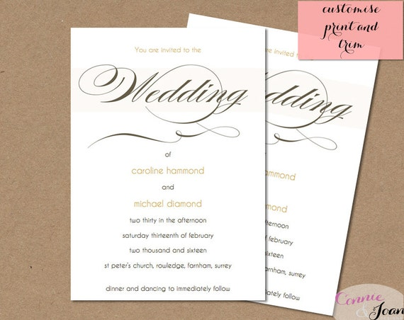 Cream And Gold Wedding Invitations: Items Similar To Wedding Invitation Template Cream And