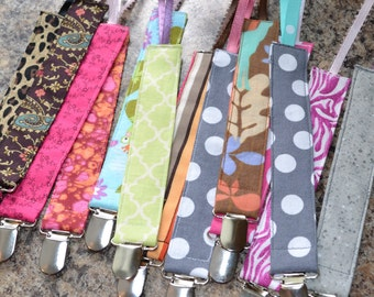 Set of 3 GIRL Baby or Infant Pacifier Leash assorted fabric / Toy Leash /  Baby Girl