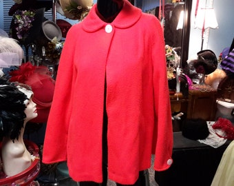 RED swing jacket vintage 1950 one button lined jacket. for women size medium