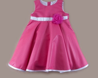 Ceremonial baby dress in pink with flower