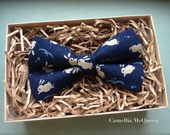 Men's bow tie, boys' bow tie, bunny on indigo bow tie