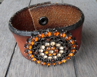 Womens' Brown Brass Amber & Ivory Rhinestone Pendant Rustic Up-Cycled Leather Cuff Bracelet