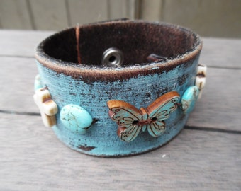 Turquoise Brown Ivory Cross Leaf Howlite Beads Butterfly Button Up-Cycled Distressed Leather Cuff Bracelet