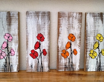 Hand painted poppy flower pallet board art, Wall Hanging, Wood Pallet, Reclaimed Wood, flower art, poppy art, bright flower art, pallet art