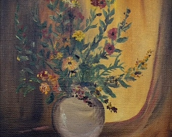 Vintage Original Signed Oil Painting Still Life with Flowers Signed M. Cook