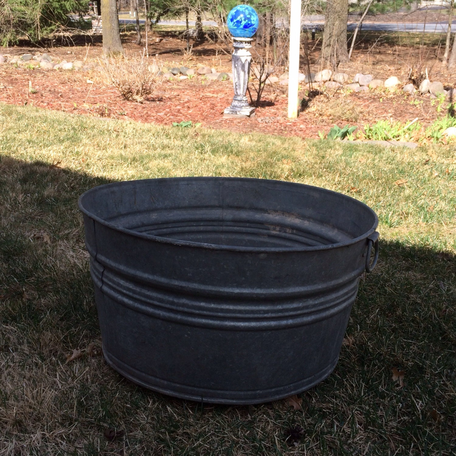 Galvanized Weathered Wash Tub Large Metal Bucket Planter