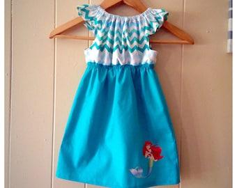 Ariel dress, baby girls dress, little mermaid dress, mermaid birthday, chevron dress, girls clothing, toddler girl dress, princess birthday