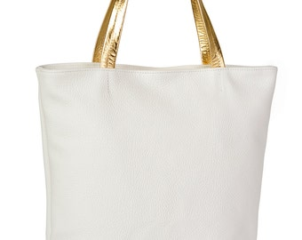Simple Genuine Leather Tote Off-White With Gold Hadles