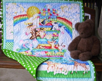 """Super Cute """"Baby Zoo Crew-Noah's Ark"""" 35""""x44"""" Quilt Baby Crib Nursery Bedding Toddler Blanket Stippling Quilted Napping Blanket Perfect Gift"""
