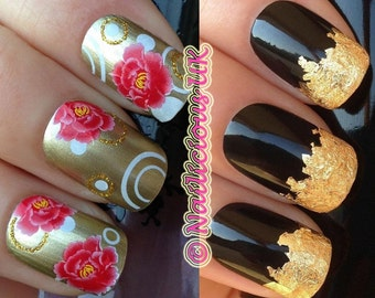 nail art set #274. golden glitter circle roses  flowers manicure tattoo water transfers decals stickers and a large gold leaf 4 present gift