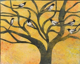 Magpies in Tree - Blank Card