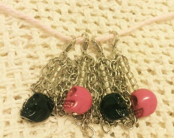 Skull and Chains Crochet Stitch Markers, Pink and Black- Set of 4*sale*