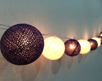 20 x White & Violet cotton ball string light for decor ,bedroom, wedding, party, garden,lamp,lantern
