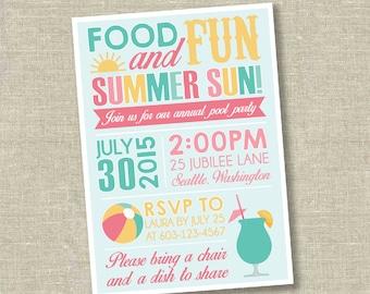 Pool party invitation, summer party invitation, summer bash invitation, cookout invitation, barbecue invitation, BBQ invitation