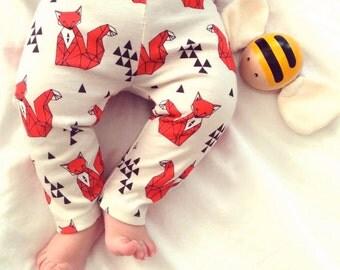 baby clothes, baby leggings, stylish baby clothes, baby gift,hipster baby clothes, modern baby clothes,  baby pants, orange fox pants
