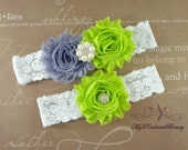 Wedding Garter, Garter, Bridal Garter, Shabby Chic Gray and Lime Green Garter, Garter set, Garter belt, Lace Garter, Custom Garter GTF0028LG