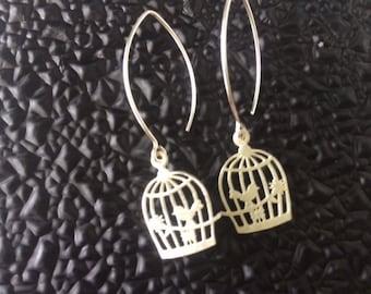Sterling Silver Birdcage Charm Earrings, Long Drop, Bird earrings