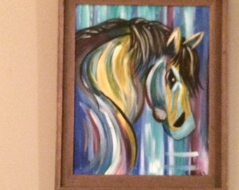 Original Acrylic Painting on 16 x 20 Canvas, Playful Horse by Artist Sherry Ross