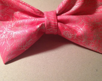 Pink Hair Bow with Silver Floral Detailing and Attached Barrette!