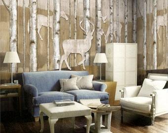 Reindeer In Woods Wallpaper Animal Deer Horse Tree Wall Mural Wall Decal  Art Tan Light Brown Part 89