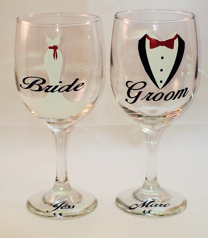 Decorative Bride Groom Wine Glasses By ThePinkDandyLion On Etsy