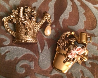 Vintage Golden Watering Can & Flower Pot Brooches