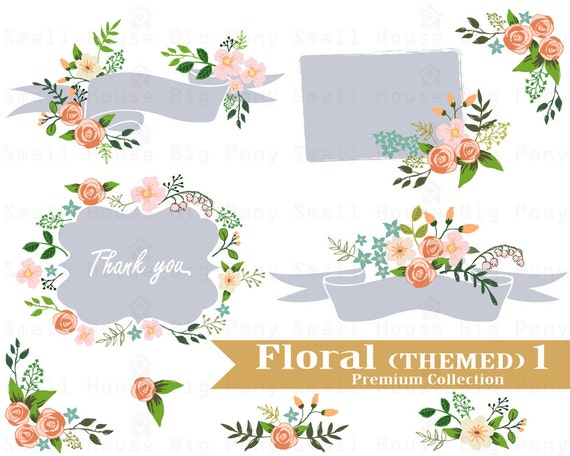 Flower Clipart, Wedding floral Clip art, Floral Bouquet Clipart, wedding flowers clip art, Clip Art, beige flowers,  pastel flowers
