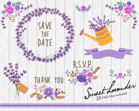 Flower Clipart, Wedding floral Clip art, Floral Bouquet Clipart, Lavander flowers clip art, Lavander Clip Art- 20 PNG file included