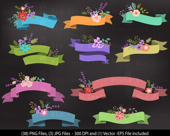 Banner Clipart, Ribbon Banner Clip Art, Vector Clipart, Instant Digital Download, Banner, Vector, PNG & EPS vector, Scrapbook Elements