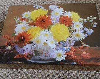 Vintage 1960's Floral and Wood-Effect Carr's Biscuit Tin, Carr & Co, Carlisle, England