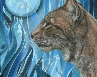 Dreams of a Lynx - from an original oil painting by D Y Hide, signed by the artist, also available as a greetings card