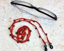 Crochet Eyeglasses Chain Red Black Lanyard Hematite Beaded Reading Glasses Necklace Sun Glasses Holder Eye Glasses Jewelry Handmade Under 10