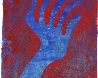 "SALE blue red hand blue red monoprint blue hand monotype original print original art ""touch"""