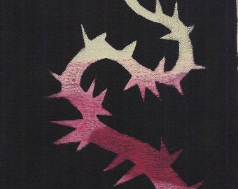 """red peach art peach black art thorn monoprint original print original art """"thorn"""""""