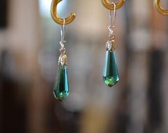 Earrings green drop dangle crystal earrings