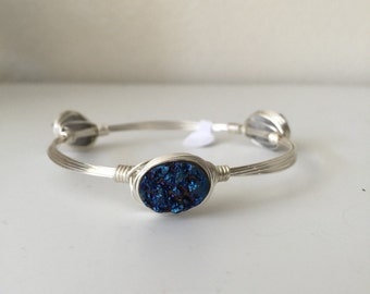 Oval Bright Blue Drusy Wire Wrapped Bangle