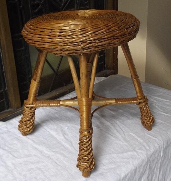 Wicker rattan natural stool bathroom boudoir garden sun room for Boudoir stoel