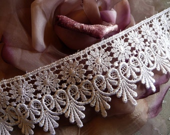 """Pure White Venise Lace Trim 2.75"""" Wide Size for Costumes, Bridal Gowns, Home Decor, Crafts, Wedding Cakes, DIY VL06W"""