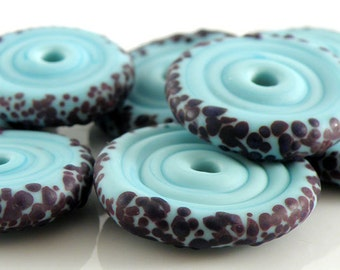 Razzleberry Etched Discs SRA Lampwork Handmade Artisan Glass Disc Beads Made to Order Set of 8 5x20mm
