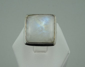 Vintage Blue Flash Moonstone in a Sterling Silver Ring  #SQMOON-SR1