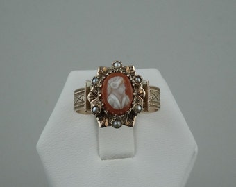 Amazing Vintage Victorian Cameo and Seed Pearl 14K Yellow Gold Ring  #PRLCAMEO-SR