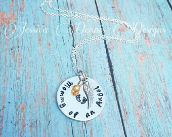 SALE Mommy of an angel* Hand stamped * Birthstone * Angel wing * Baby feet * Necklace or Bracelet