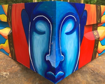 Blue Buddha Sun Beehive Box for Honey Bees, Custom Painted Bee Equipment Beekeeping