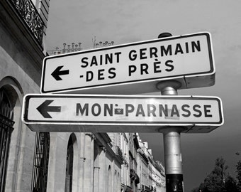 Paris Decor, Black and White, Paris Photography, Wall Art, French Sign, Saint Germain, Montparnasse Paris, France Photo, Paris Print