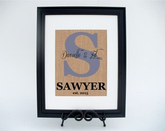 Personalized Framed Burlap Print Monogram Wall Sign Home Decor Wedding or Anniversary Gift (#1366FB)