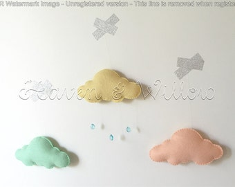 Set of Three Mini Clouds in Pastel Shades with or without Raindrops